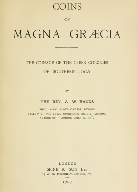 books1909 Hands - Coins of Magna Graecia. Greek Colonies of Southern Italy