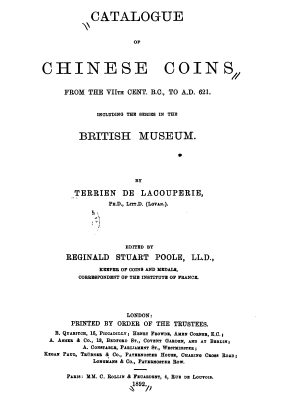 Lacouperie 1892 - Chinese coins VIIth c BC to AD 621 British museum