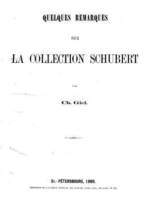 VA Giel - 1880 - Notes on Schubert Collection