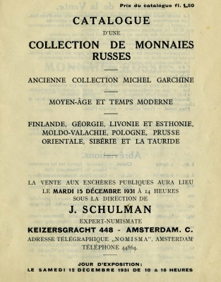 VA Schulman - 1931 - Garchine Collection Sale